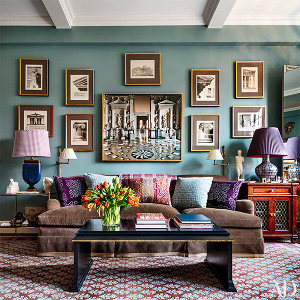 Architectural prints purchased from the George Glazer Gallery in Alexa Hampton's living room, pictured in Architectural Digest in 2015. Photo: Scott Frances.