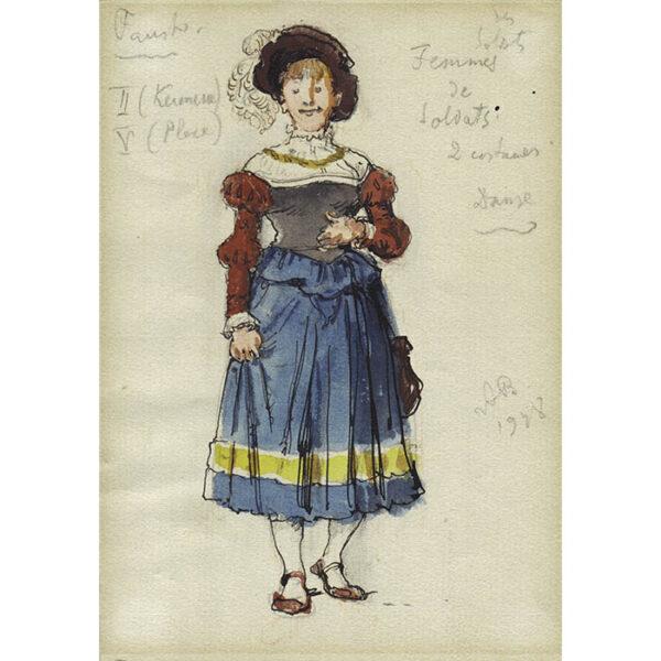 Aleksandr Benois Costume Design for Faust at La Scala, Femmes de Soldats