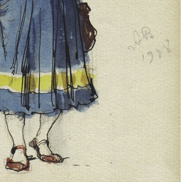 Aleksandr Benois Costume Design for Faust at La Scala, Femmes de Soldats, detail