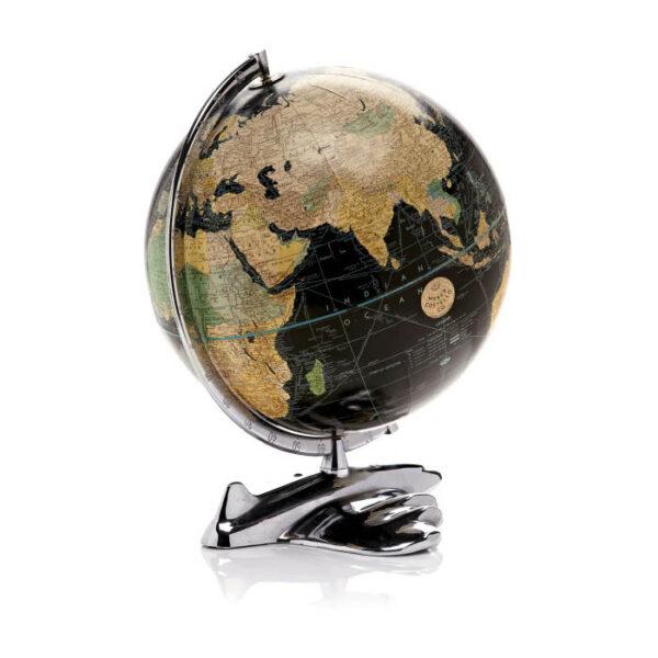 Black ocean Art Deco globe with airplane base.