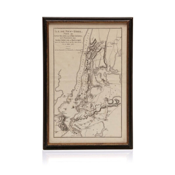 Ile de New York engraved map of troop maneuvers led by George Washington in the Battle of Brooklyn during the Revolutionary War, Paris: 1807.