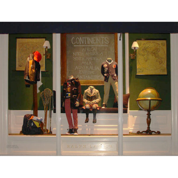 Back-to-School Window Display Ralph Lauren's Children's Store Madison Avenue, Upper East Side, New York City with antiques provided by George Glazer Gallery