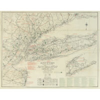 Rand McNally Official 1923 Detailed Auto Trails Map, Long Island and Vicinity Featuring Golf Links