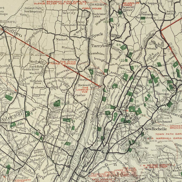 Rand McNally Official 1923 Detailed Auto Trails Map, Long Island and Vicinity Featuring Golf Links, detail