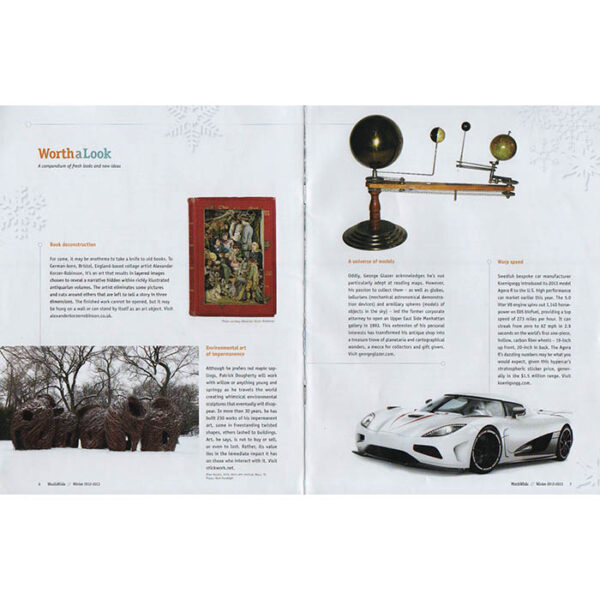 Shopping feature about George Glazer Gallery, Worthwhile Magazine, Winter 2012-13, full spread