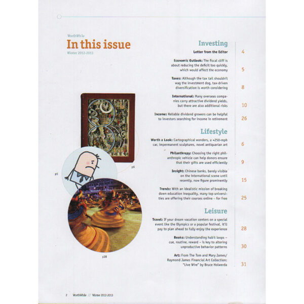 Shopping feature about George Glazer Gallery, Worthwhile Magazine, Winter 2012-13, table of contents