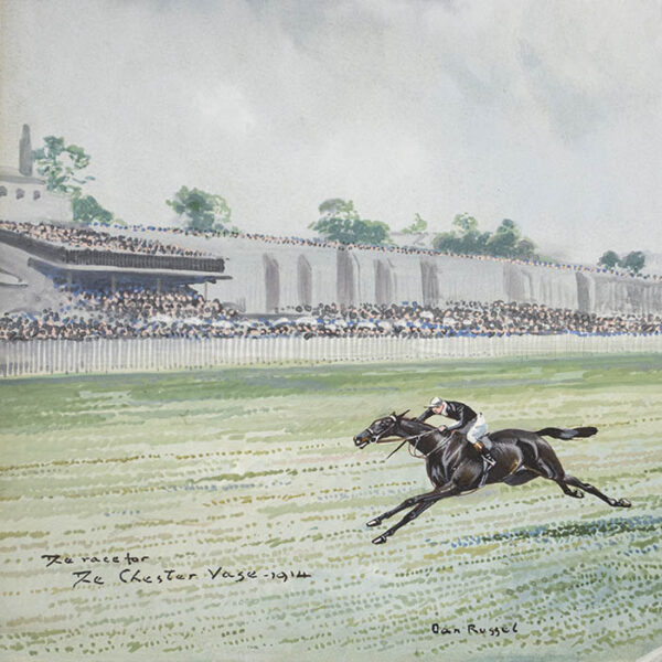 The Race for The Chester Vase — 1914, detail of Dan Russel