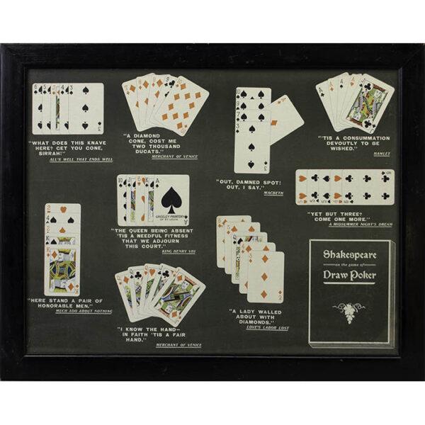 Shakespeare on the Game of Draw Poker, framed