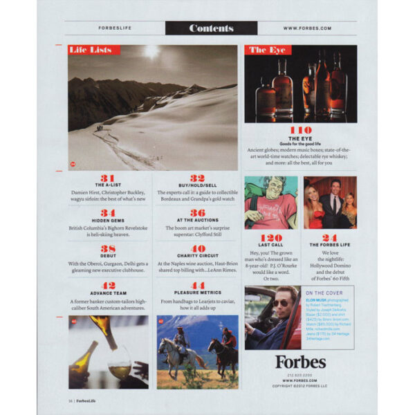 Forbes Life Spring 2012 table of contents