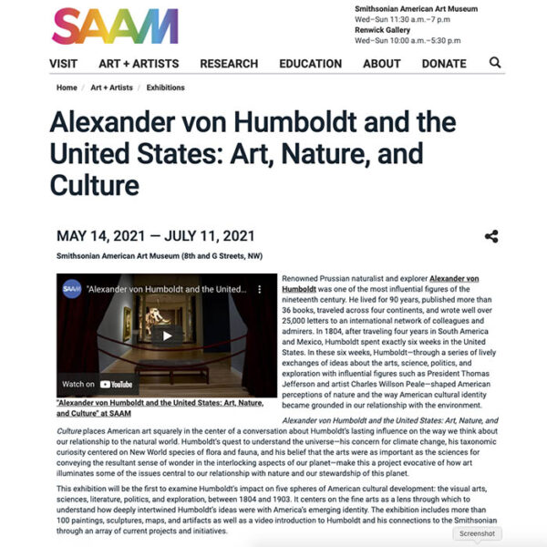 """""""Alexander von Humboldt and the United States: Art, Nature, and Culture,"""" website"""
