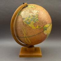 George F. Cram Company 12-Inch Cherry (Red) Ocean Terrestrial Globe