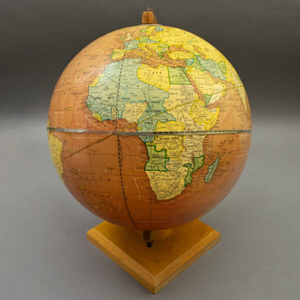 George F. Cram Company 12-Inch Cherry (Red) Ocean Terrestrial Globe, detail