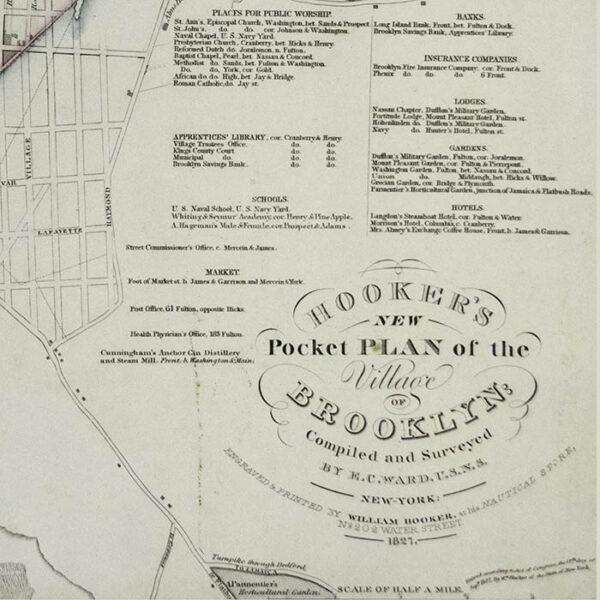 Hooker's New Pocket Plan of the Village of Brooklyn, detail
